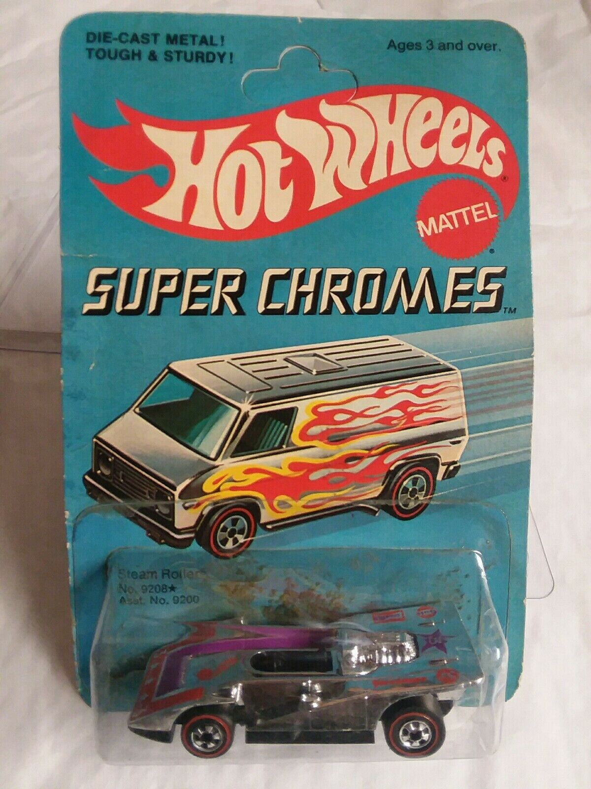 HOT WHEELS SUPER CHROMES REDLINES STEAM ROLLER MIBP UNPUNCHED