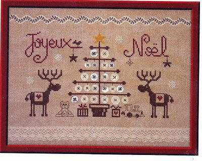 Joyeux Noel aux Rennes - cute Christmas cross stitch chart - Jardin Prive |  eBay