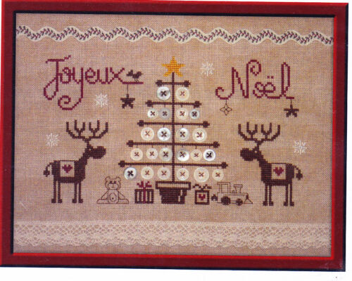 Jardin Prive cute Christmas cross stitch chart Joyeux Noel aux Rennes