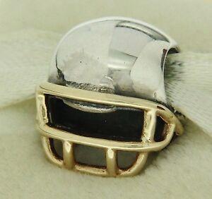 100% QualitäT Authentisch Pandora 790570 Fußball Helm 14k Gold & Sterlingsilber üBereinstimmung In Farbe