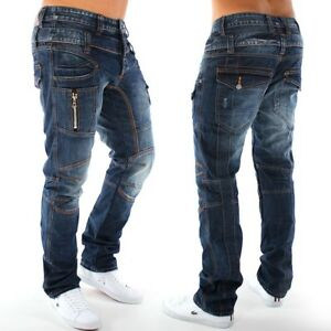 Nueva-mens-pantalones-vaqueros-de-diseno-Estilo-de-Carga-Regular-Fit-Clubwear-Ir