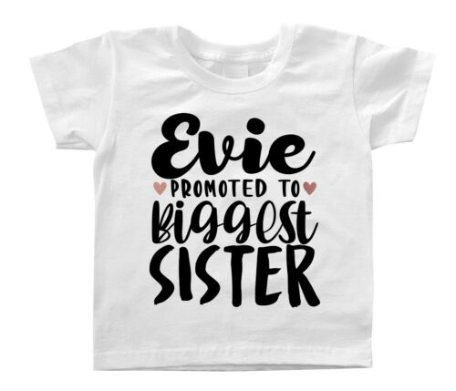 Personalised Name Promoted To Biggest Sister T-shirt Secret Big Sister Again Top