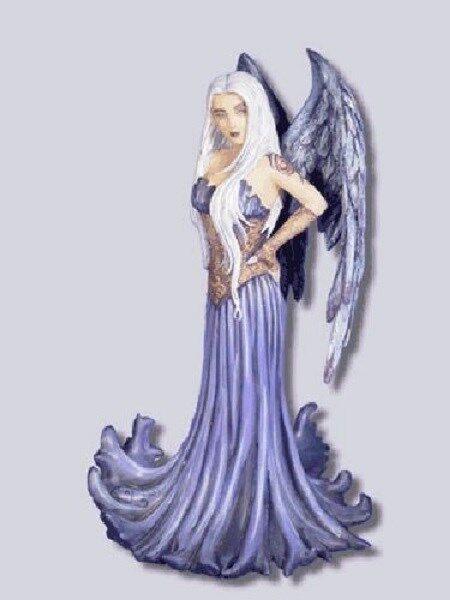 Amy Brown Blue Angel Fairy Statue Figurine Faery NIB Feather Wings