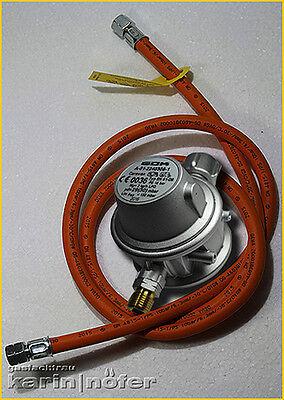 BBQ Druckminderer 30 mbar 2 kg./h mit Schlauch 1,5 m für DK Anschluss