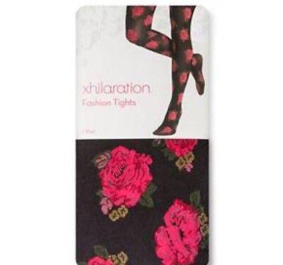New Burlesque Pinup Boho Xhilaration Black Elegant Rose Fashion Tights 1x