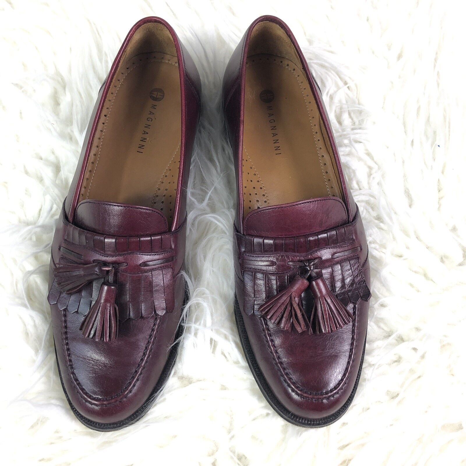 Magnanni mens 9.5 M loafers loafers loafers schuhe slip on kiltie tassel leather burgandy Spain da1f6e