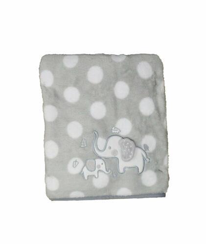 Supersoft Luxurious White Polkadots Grey Elephants Pram or Crib Wrap//Blanket