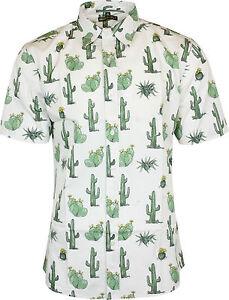 Run-amp-Fly-Mens-Cactus-Print-Short-Sleeved-Shirt-Vintage-Retro-Indie-80s