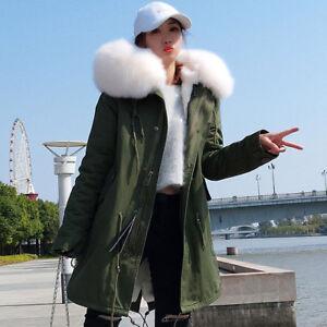 a2ed1b961 Women Big Real Raccoon/Fox Fur Collar Hooded Coat Winter Jacket Warm ...