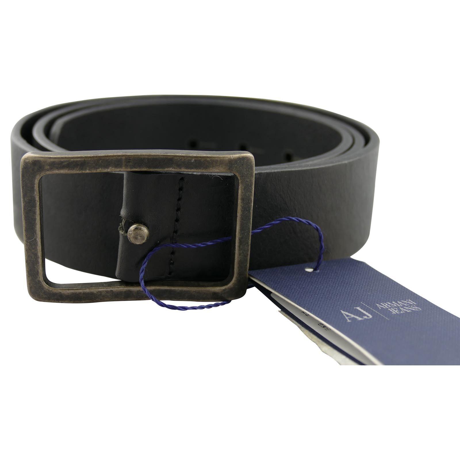 Armani Jeans Schwarz Ledergürtel Rechteckige Schnalle Retro Hergestellt IN Italy