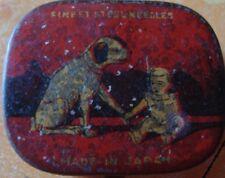 Old vintage Tin Baby & Dog Gramophone Needle Box from Japan 1930