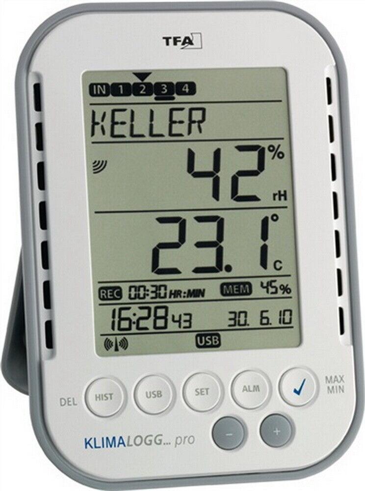 Thermo-Hygrometer digital für innen H.137xB.98xT.26 mm