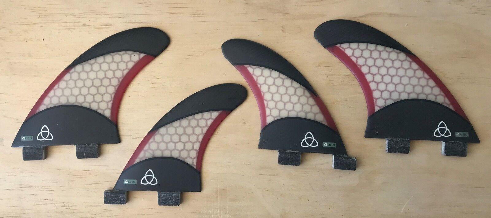 Medium Fiberglass Surfboard Fins - Quad (Set of 4) Red White Carbon Fiber, FCS
