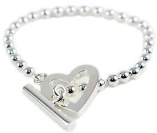 Gucci Toggle Heart Logo Engraved Size 17 Sterling Silver Bracelet YBA181447001