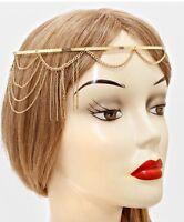 Bridal Pageant Formal Hair Head Metal Chain Jewelry Gold Headpiece Drape