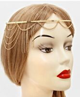 Bridal Pageant Formal Hair Head Metal Chain Jewelry Gold Headpiece Drape