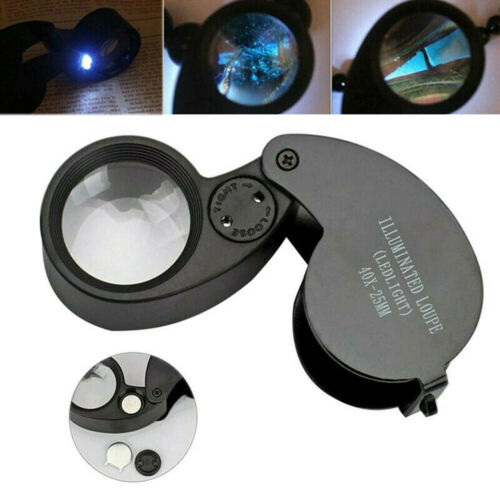 40X 25mm Glass LED Light Magnifying Magnifier Jeweler Eye Jewelry Loupe Loop