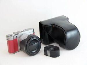 Black Leather Case Bag For Fujifilm X A3 Camera XC16 50mm Lens Kit