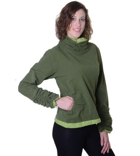 Damen Oberteil aus Baumwolle im hippen Rüschen-Look Hippie Pullover Überzieher
