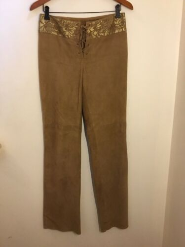 Ralph Lauren Black Label Gold Painted Brown Suede… - image 1