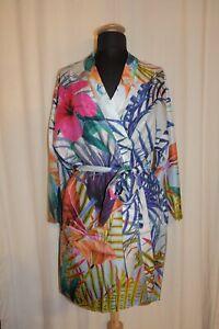 Details about  /Gattina Short Kimono Housecoat Robe 35/% Silk Multicolour Tropenprint New