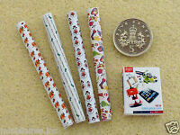 Dolls House Miniature Argos Catalogue & 4 Rolls Christmas / Xmas Paper Handmade