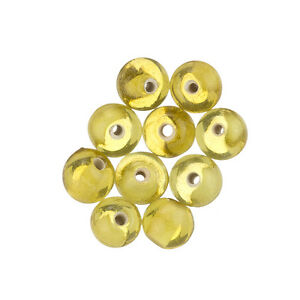 8mm-Round-Topaz-Yellow-Handmade-Glass-Beads-Pack-of-10-E13-4