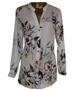 NEW-IN-Ladies-WALLIS-Grey-Ivory-Floral-Print-Chiffon-Blouse-Shirt-Top-8-18-35