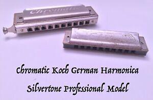 Vintage Chromatic Koch Slide Germany and Silvertone Professional Harmonicas