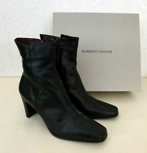 Roberto-Vianni-Black-Leather-Ankle-Boots-Size-7-Brand-NEW-in-Box