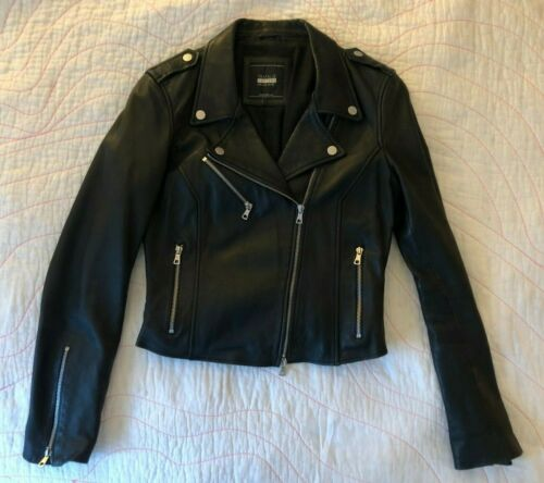 Zara Womens Black Leather Biker Jacket Size L