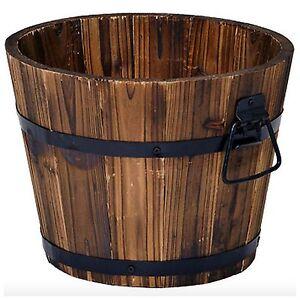 Cedar Wooden Whiskey Barrel Pot Planter Outdoor Garden