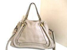Authentic Chloe Gray Beige Paraty Leather Handbag w/ Shoulder Strap