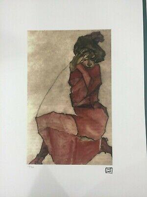 Egon Schiele Litografia cm 50x70 con autentica ediz timbro artista SPADEM