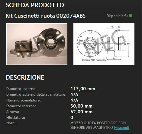 MOZZO RUOTA POSTERIORE cc FIAT BRAVO 1900 D TD JTD DAL 1995 AL 2001 CUSCINETTO
