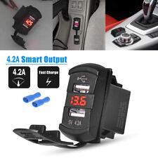 BLUE 2 POSITION LASER ETCHED ROCKER SWITCH USB CAR CHARGER UTV BOAT TRUCK