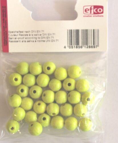Holzperlen NEON Bohr 2,3 mm gelb  Perlen  8 mm 45 Stück