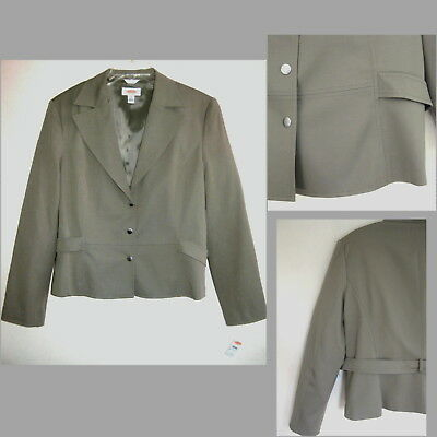 NWT Talbots jacket 18 Rayon Cotton Sage Green Brown Blazer Taupe Snaps Fall New