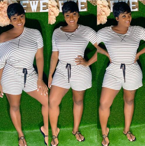 Plus Size Women Short Sleeves Stripe Print Bandage Casual Short Pants Set 2pcs