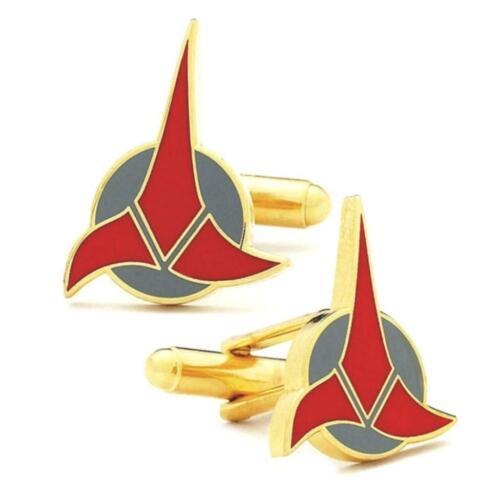 KLINGON CUFFLINKS Star Trek Symbol Emblem w GIFT BAG Sci Fi Movie Fan Gold Color