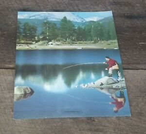 Vtg-1940s-50s-Art-Print-Man-Fly-Fishing-on-Lake-In-Mountians-Casting-Reflections