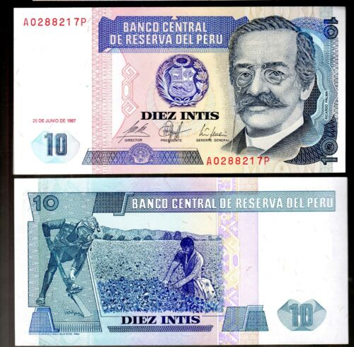 BANKNOTE WORLD PERU IN S.AMERICA 1 PCE OF 10 INTIS 1987 P-129 FROM BUNDLE