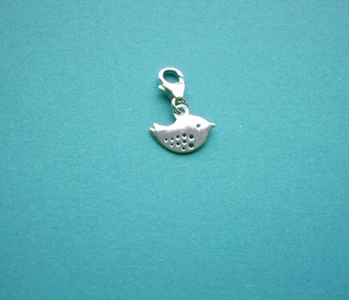 CLIP ON 925 Solid Sterling Silver /'BIRDIE/' Charm with Trigger Clasp Finding