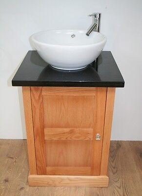 Bathroom Solid Oak Vanity Unit, with  Basin Granite Top and Mono Mixer Tap