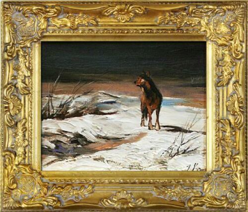 Dipinto quadro olio Ölbilder quadro barocco immagini Wolf immagine restaurando g02282