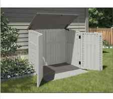 Outdoor Garden Storage Shed Cabinet Garage Plastic Horizontal Lockable Box Patio
