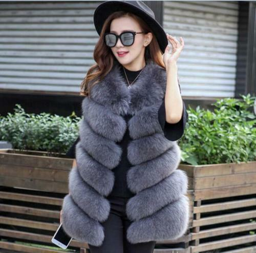 Fluffy Fluffy Fluffy Fur Vest Women Gilet hot Warm Vogue Long Coats Parka Clothes Outwear New 0afe62