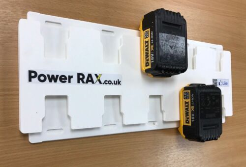 Click in Dewalt 18v & Flexvolt Battery Rack, 2-10 slots mounts batteries holder