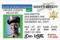 Barney Fife Drivers License 2. 2 1/2 X 4 Fridge Magnet. Don Knotts. Mayberry