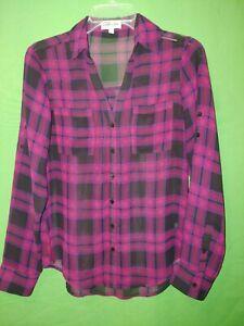 0583-EXPRESS-x-small-Portofino-Shirt-sheer-blouse-polyester-black-red-plaid-XS
